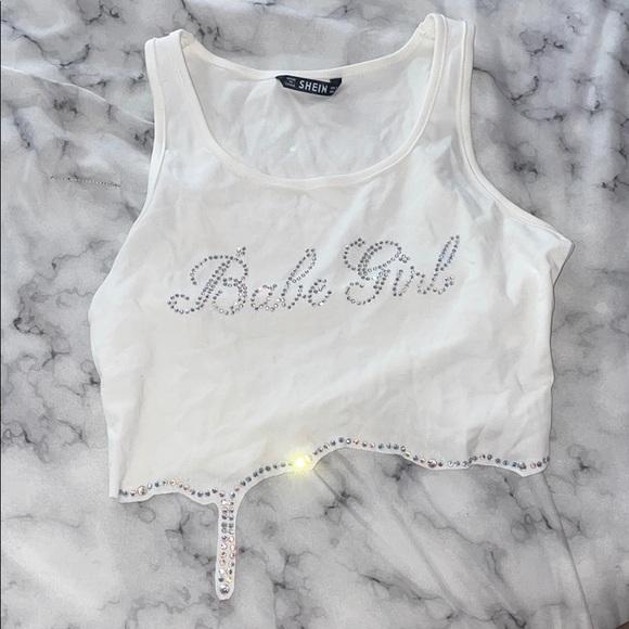 Crop white bedazzled shirt